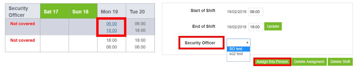 how to assign an operative to a shift schedule guardtek